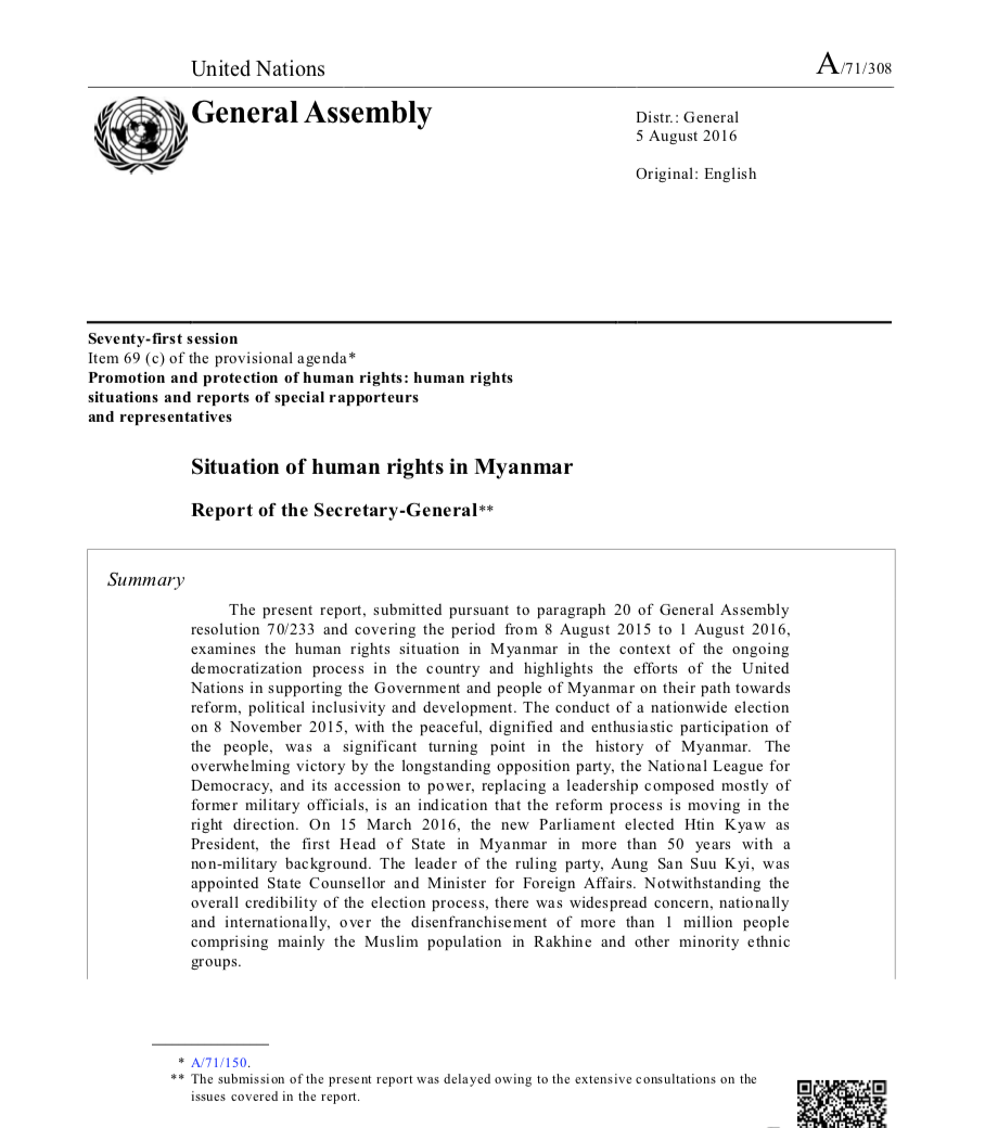 Situation of Human Rights in Myanmar – Report of the Secretary-General