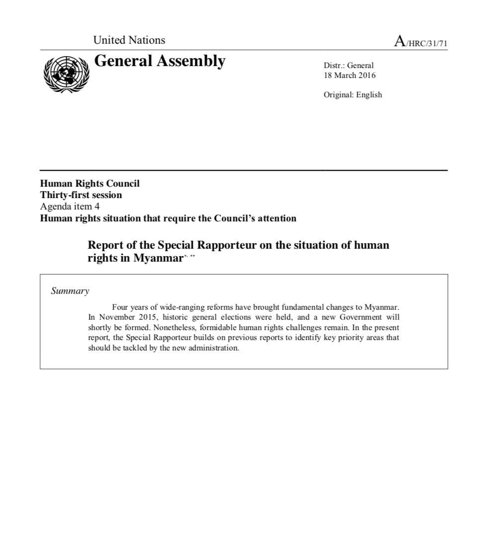 Report of the Special Rapporteur on the Situation of Human Rights in Myanmar