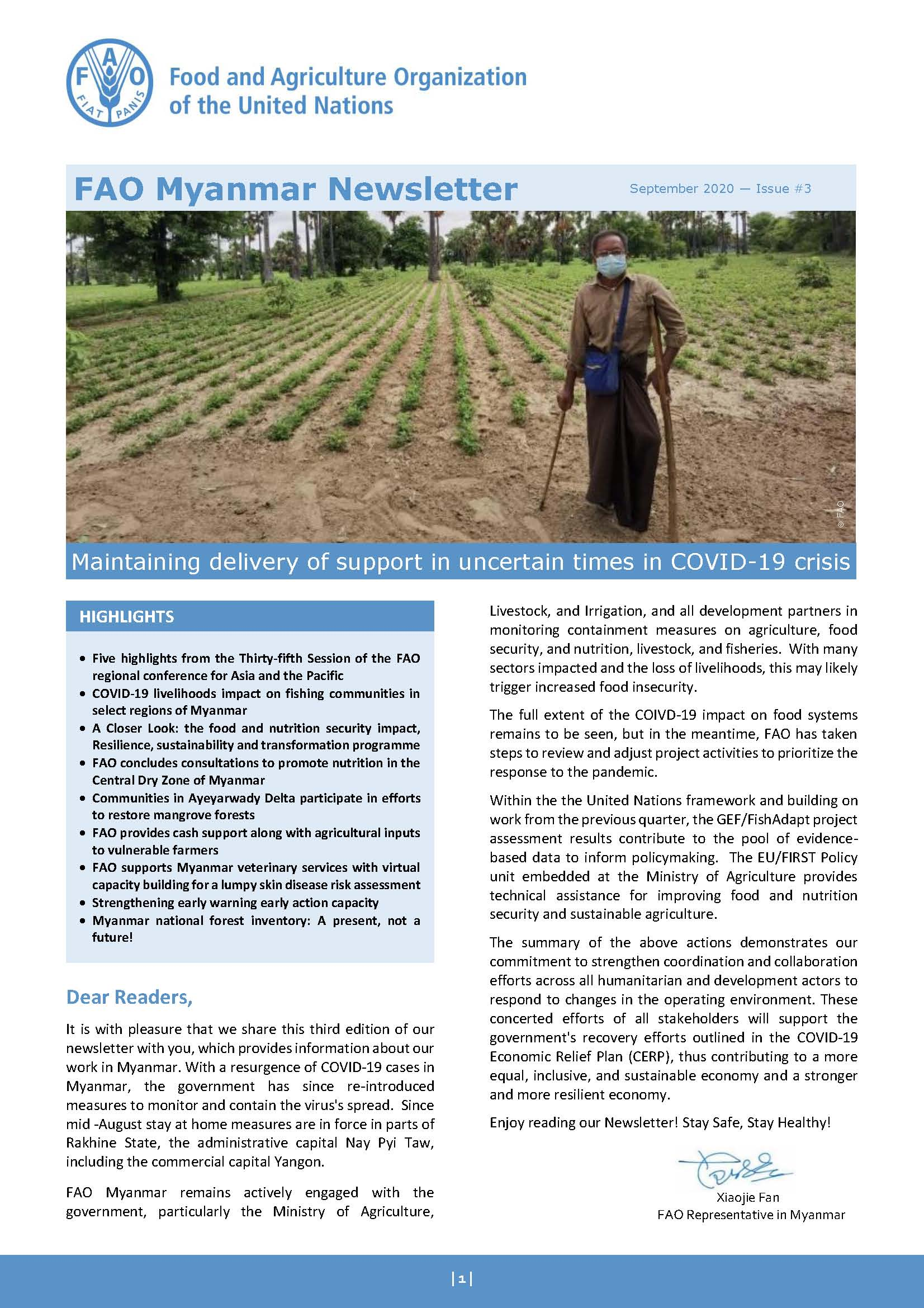 FAO Myanmar Newsletter  September 2020 - Issue #3