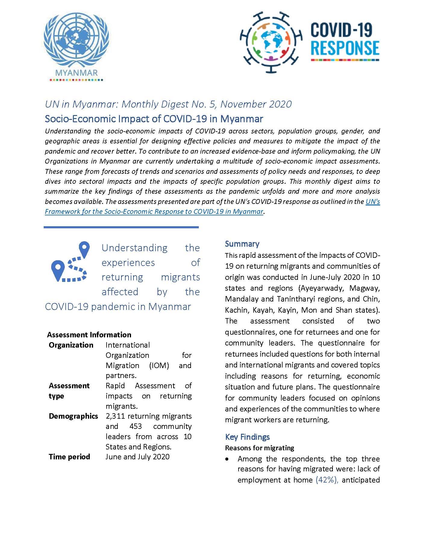 UN in Myanmar: Monthly Digest No. 5, November 2020 Socio-Economic Impact of COVID-19 in Myanmar