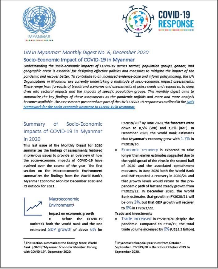 Socio-economic Impact of COVID-19 in Myanmar