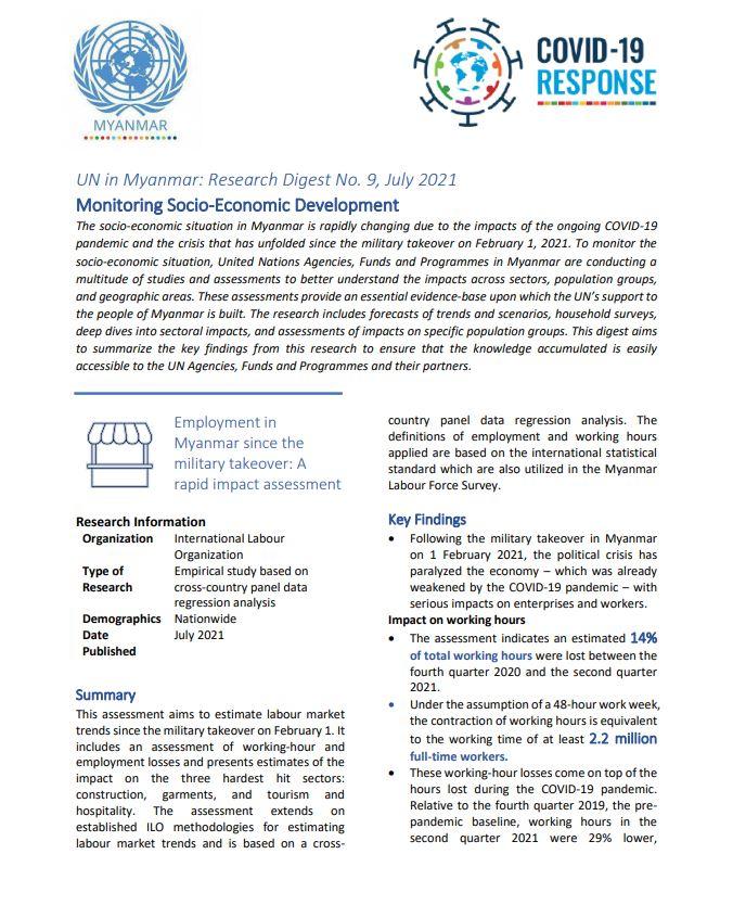 UN in Myanmar: Research Digest No. 9, July 2021